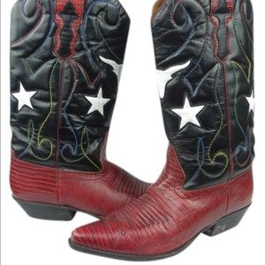 Red White Blue Vintage Inspired 70's Cowboy Boot